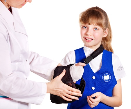 Little girl with broken arm. Stock Photo - 13258716