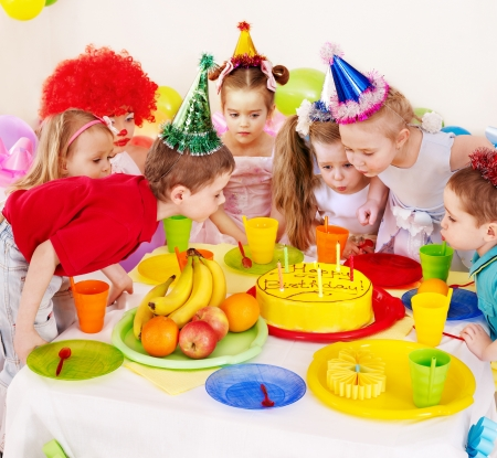 clowns: Children happy birthday party . Stock Photo