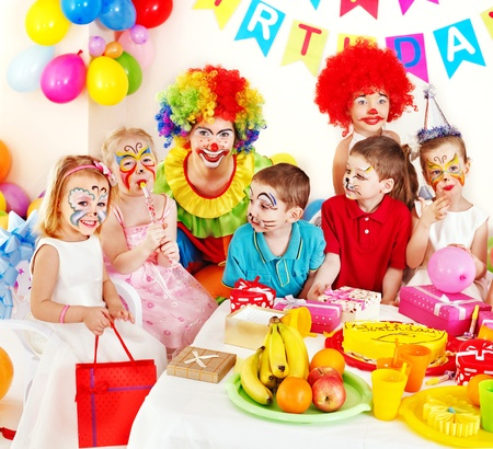 birthday food: Children happy birthday party . Stock Photo