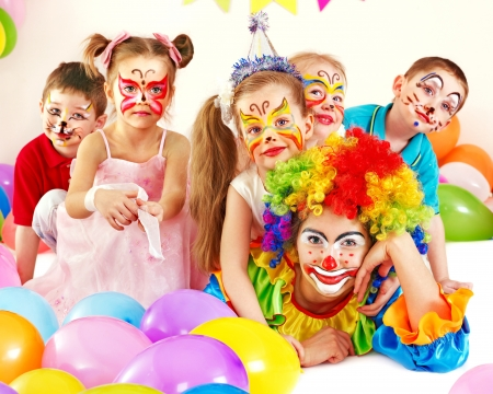 clowns: Child happy birthday party .