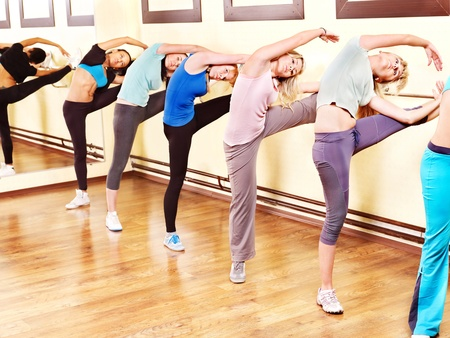 stretches:  Women group in aerobics class.