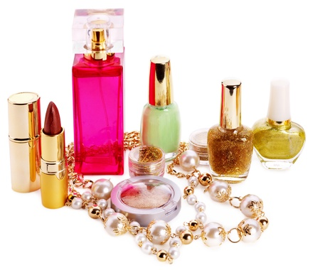 Decorative cosmetics and perfume. Isolated. Stock Photo