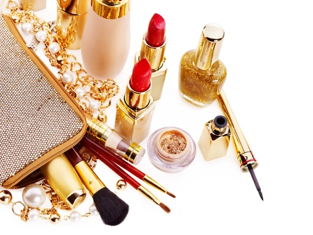 decorative accessories: Decorative cosmetics for makeup. Isolated. Stock Photo