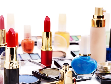 cosmetic products: Decorative cosmetics for makeup. Close up. Stock Photo