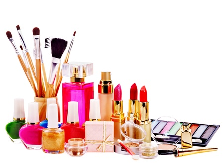 Decorative cosmetics and perfume. Isolated. photo