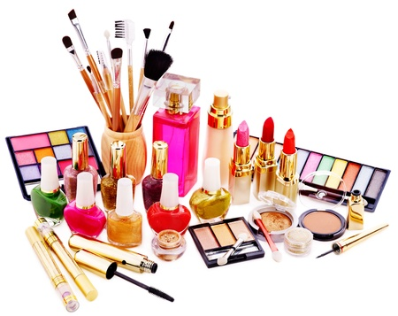cosmetic products: Decorative cosmetics and perfume. Isolated. Stock Photo