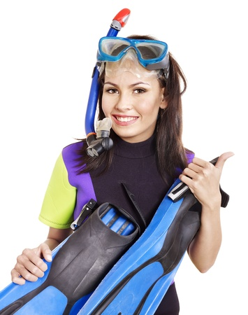 travel gear: Girl wearing diving gear.  Isolated.