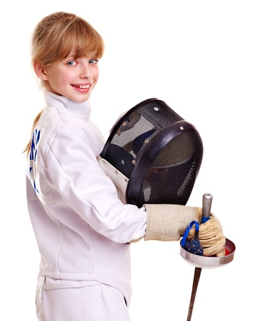 epee: Child in fencing holding epee . Isolated.