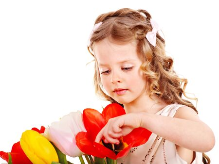 day care: Little girl with spring flower . Isolated.