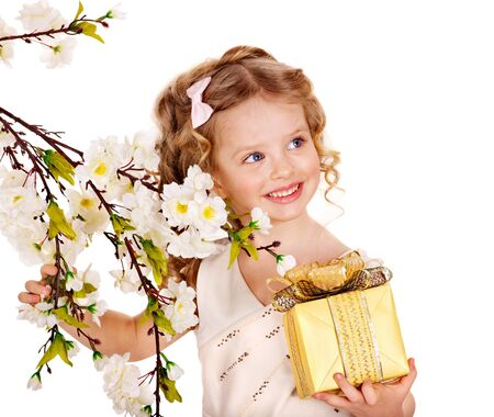 Little girl with spring flower . Isolated. photo