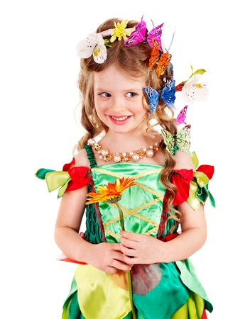 Child with flower and butterfly. Isolated. photo