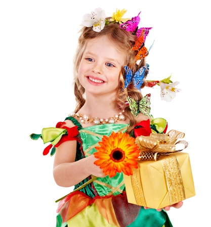 Little girl with butterfly holding gift box. Isolated. photo