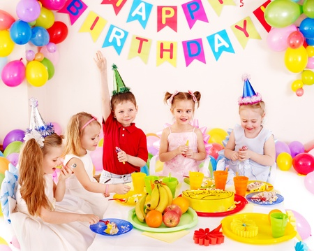children party: Children happy birthday party . Stock Photo