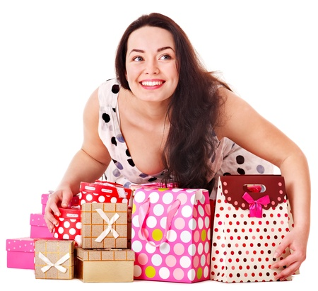 Young woman holding gift box at birthday party. photo
