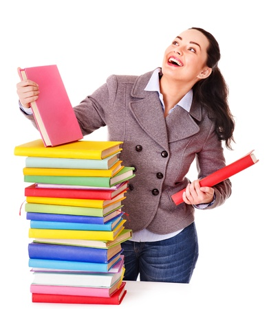 Woman holding book. Isolated. Stock Photo - 13309326