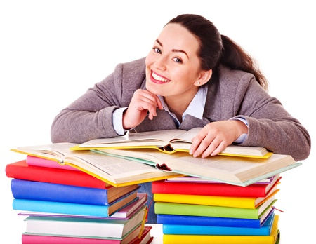 Woman holding book. Isolated. Stock Photo - 13309329
