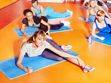 Women group in aerobics class. photo