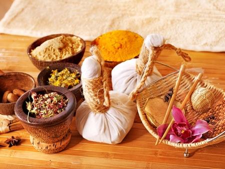 herbal massage ball: Spa still life  with heart herbal thai ball. Stock Photo