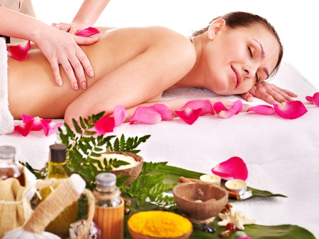 Young woman getting massage in spa . Isolated. Stock Photo - 13309334