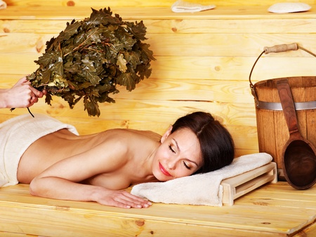 Young woman in sauna. Stock Photo - 13308142