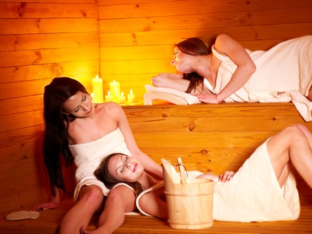Young woman in sauna. Stock Photo - 13309920