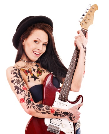 Young woman with tattoo playing guitar. Stock Photo - 13309646