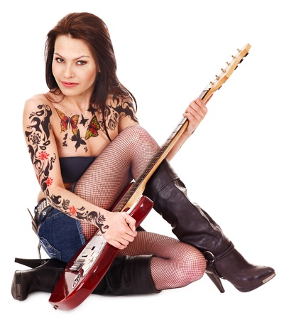 body paint sexy: Young woman with tattoo playing guitar. Stock Photo
