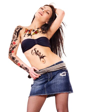 denim skirt: Young woman with body art .