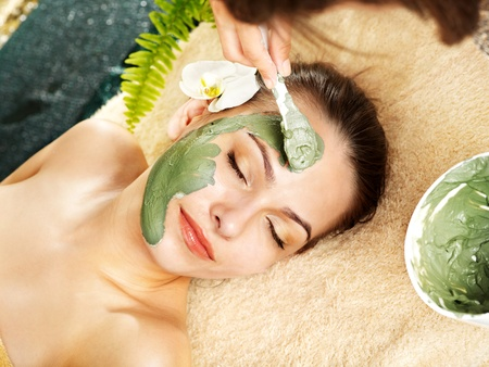 beauty parlour: Beautiful woman having clay facial mask apply by beautician.
