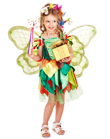 Little girl  with wings holding flower and butterfly. Isolated. photo
