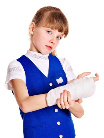 Child with broken arm. Isolated. Stock Photo - 13562950