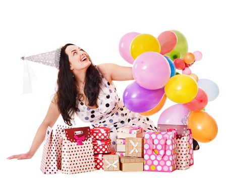 Young woman holding gift box at birthday party. Stock Photo - 13563225