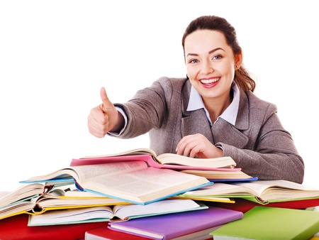 Woman holding book. Isolated. Stock Photo - 13563074