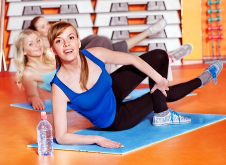 Happy women group in aerobics class. photo