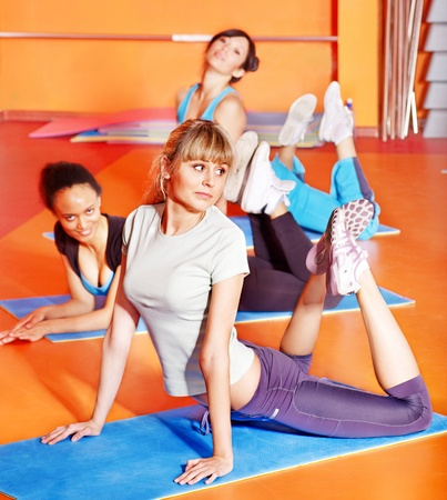 Women group in aerobics class. Active lifestyle. photo