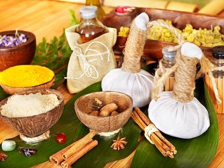 medical herbs: Spa still life  with Thai herbal ball.