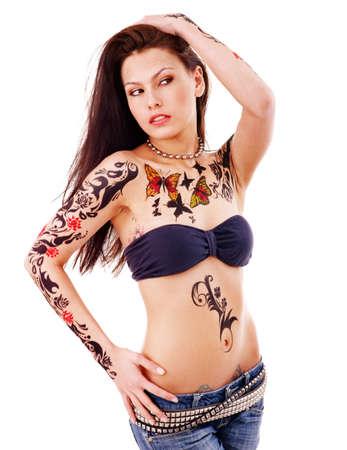 tatouage sexy: Jeune femme avec art corporel. Isol�. Banque d'images