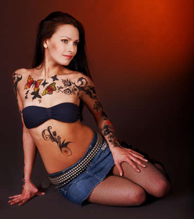 body paint: Young woman with body art .