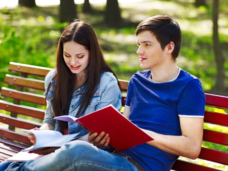 Group student with notebook summer outdoor. Stock Photo - 13563143
