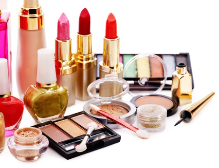 cosmetic products: Group decorative cosmetics. Close up.
