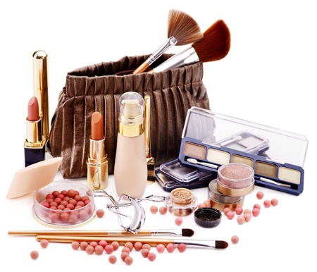 Decorative cosmetics in bag . Isolated. photo