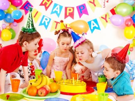 birthday balloons: Children happy birthday party . Stock Photo