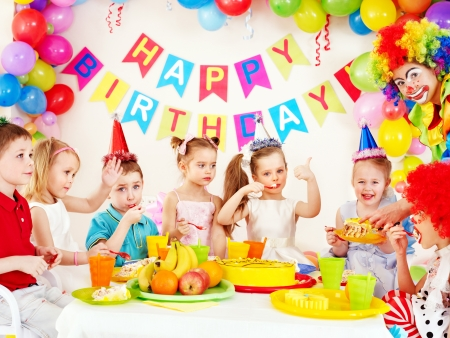 birthday boy: Children happy birthday party . Stock Photo