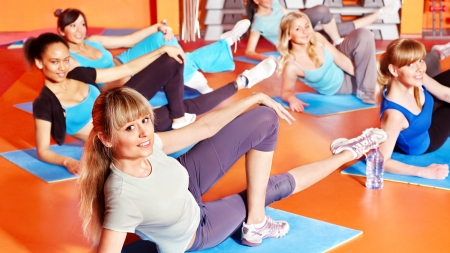 aerobic exercise:  Women group in aerobics class.