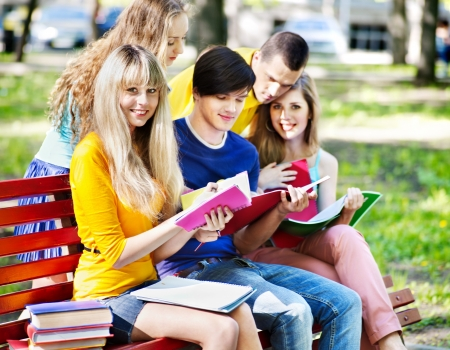 Group student with notebook on bench outdoor. Stock Photo - 13851857
