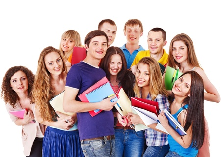 Group student with notebook isolated. Stock Photo - 13852092