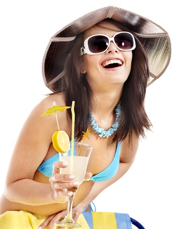 Girl in bikini drink juice through  straw  Isolated  photo