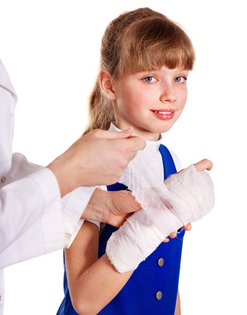 Little girl with broken arm. Stock Photo - 14104625