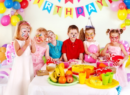 birthday party kids: Group children happy birthday party .