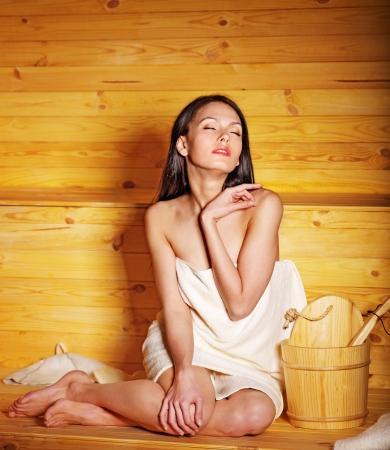 sauna: Young woman in sauna. Healthy lifestyle.